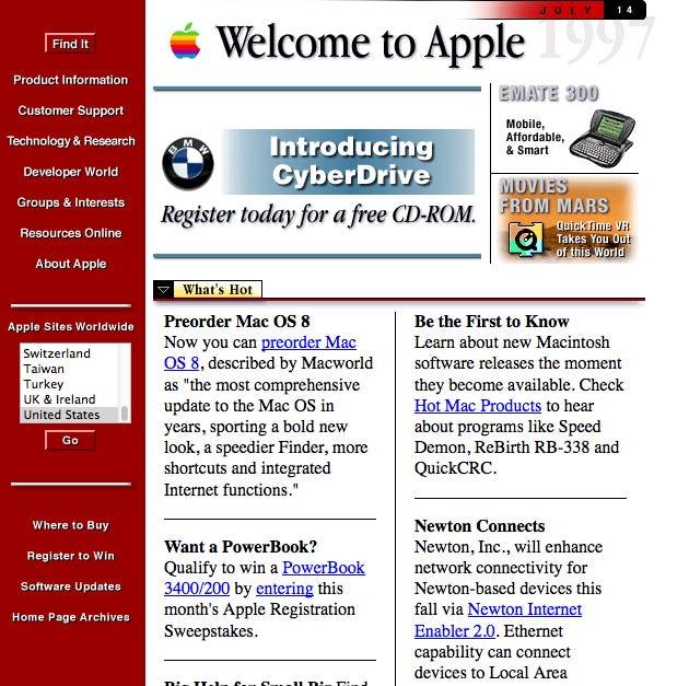página web apple 1997